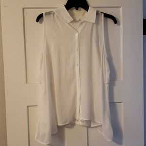 LUSH White button up top with lace back